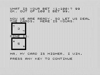 Computer Win ZX81 screen shot, Stud by Steven Reid, 1984