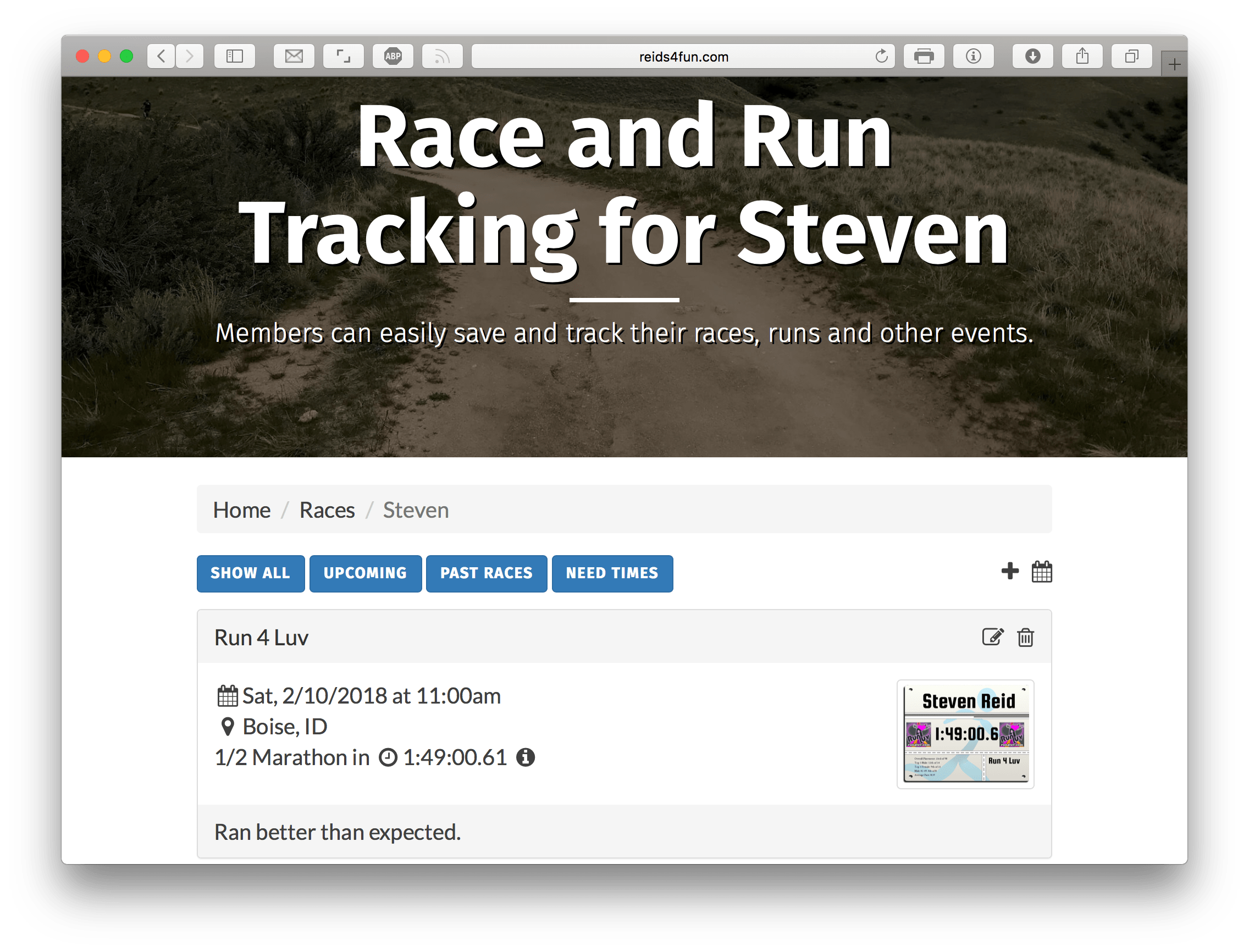 Introducing my Race and Run Tracker