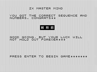 ZX Master Mind ending screen shot, Steven Reid 1985/1998