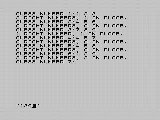 ZX Mastermind game play, Steven Reid 1985/1998