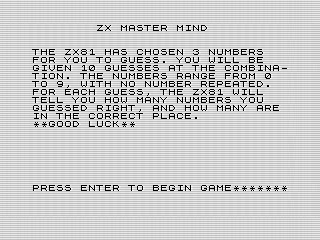 ZX Master Mind opening screen shot, Steven Reid 1985/1998