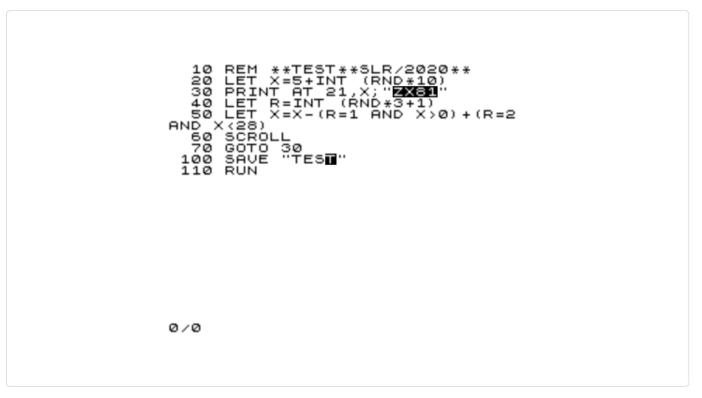 Test, ZX81 Listing by Steven Reid, 2020